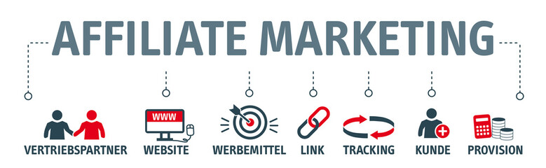 Banner Affiliate Marketing Vektor Illustration mit icons