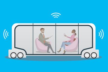 autonomous car or bus and internet of things iot concept self-driving car