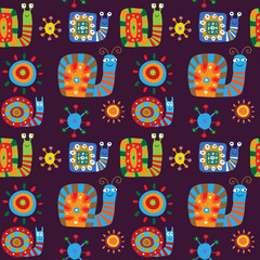 Cute children's pattern with a decorative snails