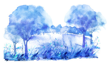 Watercolor summer forest, blue,