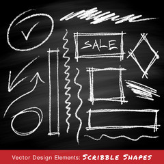 Scribble shapes hand drawn in chalk on chalkboard background. Vector illustration.