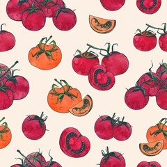 Elegant seamless pattern with whole and sliced red tomatoes on light background. Backdrop with hand drawn natural organic vegetables. Vector illustration for fabric print, wrapping paper, wallpaper.