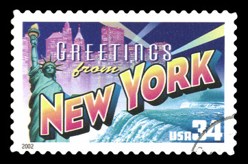 Vintage 2002 United States of America cancelled postage stamp  showing Greetings From New York city