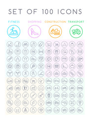 Set of 100 Universal Minimal Black Stroke Icons on Circular Buttons on White Background ( Fitness Shopping Construction and Transport Icons )