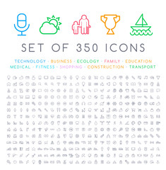 Set of 350 Modern Thin Stroke Colored Icons  ( Multimedia Business Ecology Education Family Medical Fitness Shopping Construction Travel Hotel )
