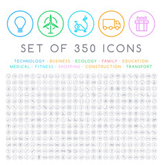 Set of 350 Modern Thin Stroke Colored Icons on Circular Buttons ( Multimedia Business Ecology Education Family Medical Fitness Shopping Construction Travel Hotel )