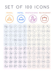 Set of 100 Universal Minimal Black Thin Line Icons on Circular Buttons on White Background ( Travel Hotel Professions and Restaurant )