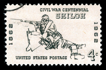 Vintage 1961 United States of America cancelled postage stamp  showing a rifleman at the Battle of Shiloh during the American Civil War