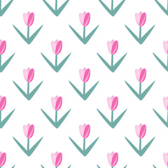 Ornamental seamless pattern of simple tulips. Floral vector pattern.