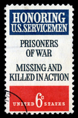 Vintage 1970 United States of America cancelled postage stamp  honouring US sevicemen Prisoners of War missing and killed in action