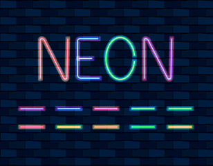 VECTOR collection of Neon Brishes, different color, Neon Lamps on brick wall.