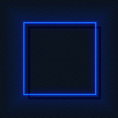 Neon e-square, glow VECTOR frame in blue colors, empty space.
