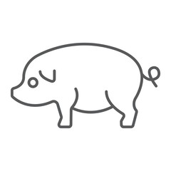 Pig thin line icon, farming and agriculture, pork meat vector graphics, a linear pattern on a white background, eps 10.