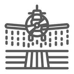 Plane sprays pesticides line icon, farming and agriculture, farm crop duster sign vector graphics, a linear pattern on a white background, eps 10.