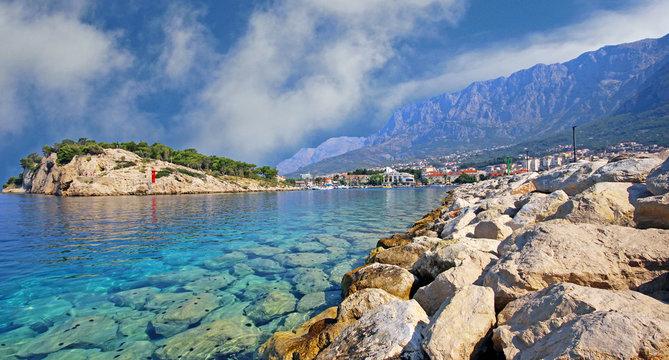 Waterfront view at coastal town Makarska, Croatia, popular travel destination in Europe. / Selective focus.