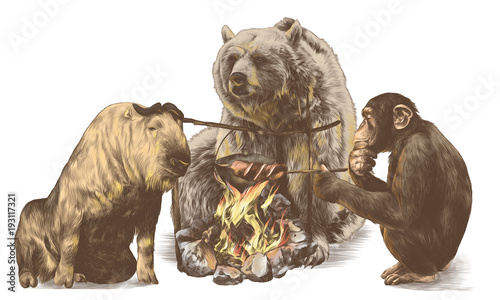 the bull the bear and the monkey are sitting around a campfire