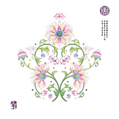 Vector background with flower element. Imitation of chinese porcelain painting. Lotus flowers and leaves are painted by watercolor.