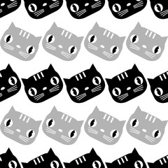 Seamless pattern with Cute Cats. Funny lovely Cats. Cloth design, wallpaper. Textile rapport.