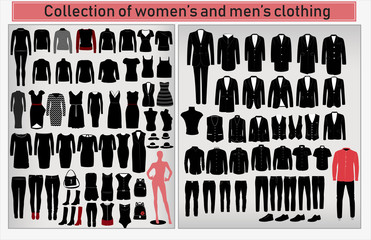 A large collection of men's and women's clothing on a light gray background