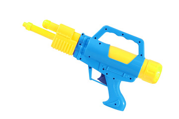 Plastic water gun toy isolated over white