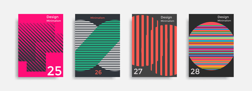 Covers templates collection with graphic geometric shapes