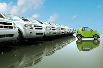 3D rendering of small, eco friendly car in front of a row of large cars