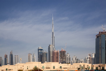 DUBAI,UNITED ARAB EMIRATES-FEBRUARY, 2018:View on modern skyscrapers in Dubai, the fastest growing city in the world.