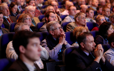 Members listen to Michael Gove the Secretary of State for Environment, Food and Rural Affairs speak during the National Farmers Union annual conference in Birmingham