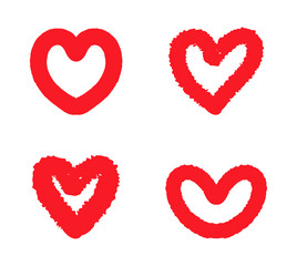 Doodle hearts icons