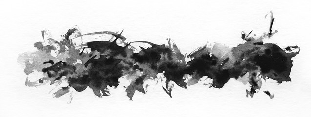 Abstract painted ink strokes set on watercolor paper. Ink drop.