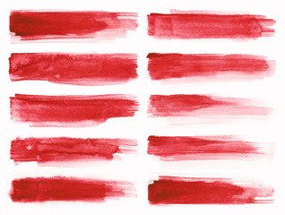 Watercolour. Set of abstract red watercolor stroke isolated on white background.