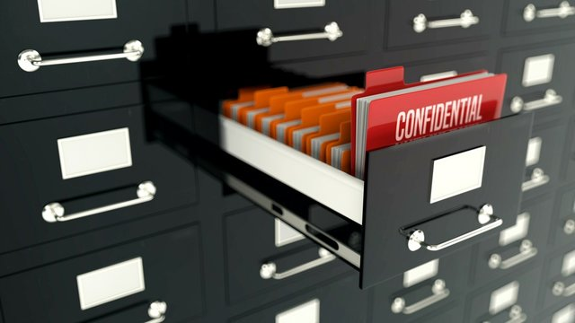 Confidential red folder in archive drawer, secret information, military records