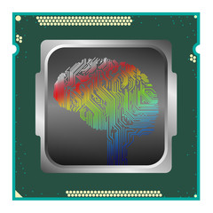 Artificial intelligence super brain computer chip or machine learning CPU