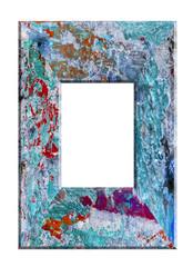 cadre bois rectangulaire bleu peint vintage vieilli