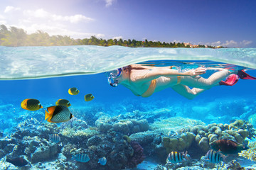 Young woman at snorkeling in the tropical water of Mexico