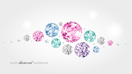 Abstract color background with diamonds and pearls