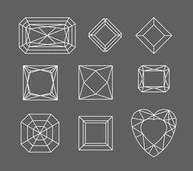 Diamond. Vector set of gems drawing line. Crystal forms. Geometric shapes of precious stones. Jewelry outline contour. Geometry figures. Diamond design elements