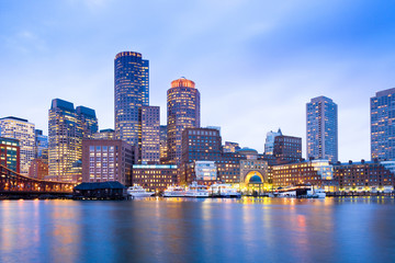 Aluminium Prints American Famous Place Financial District Skyline and Harbour at Dusk, Boston, Massachusetts, USA