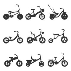 Childrens bicycles silhouettes