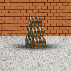 Barrels(06) 01 Wood01 - Brickwall01