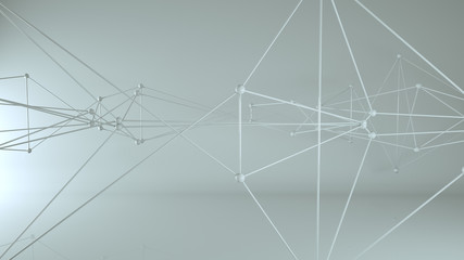 Futuristic 3D network with nodes and lines