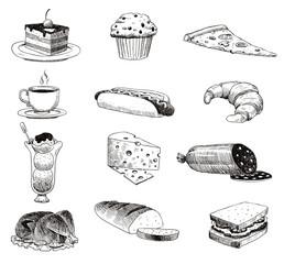 Vector hand drawn food sketch and kitchen doodle. Handdrawn food sketch and kitchen doodle graphic retro cook restaurant meal menu symbols. Dinner design product ingredient illustration.