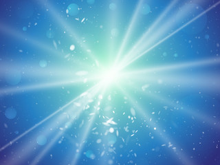 abstract light rays and dust blue background