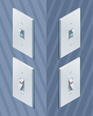 Isometric light wall switch. On and off modes. Toggle switch. Eps10 Vector.