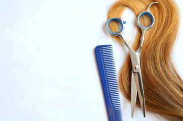 Волос с ножницами и расческа для стрижки на белом фоне