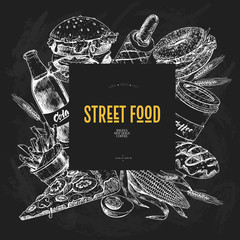 Hand drawn fast food banner. Street food bakery. Burger, hot dog, french fries, pizza, coffee, soda, bagel, donut, vegetable, egg. Chalkboard vector illustration. Restaurant menu, food flyer poster