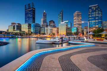 Aluminium Prints Oceania Perth. Cityscape image of Perth downtown skyline, Australia during sunset.