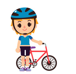 Vector female character standing with bicycle isolated on white background