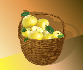 Basket with yellow apples beautiful vector illustration