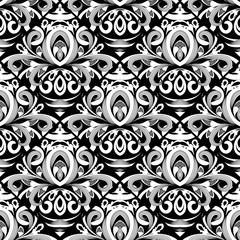 Floral black and white damask seamless pattern. Vector background with hand drawn doodle vintage flowers, swirl leaves, baroque style ornaments. Isolated luxury design for wallpapers, fabric, prints